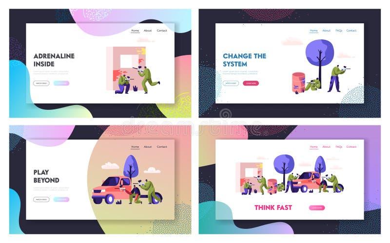 Batalha do Paintball com oposição de Team Website Landing Page Set, jogadores do esporte no uniforme protetor e apontar e o tiro  ilustração stock
