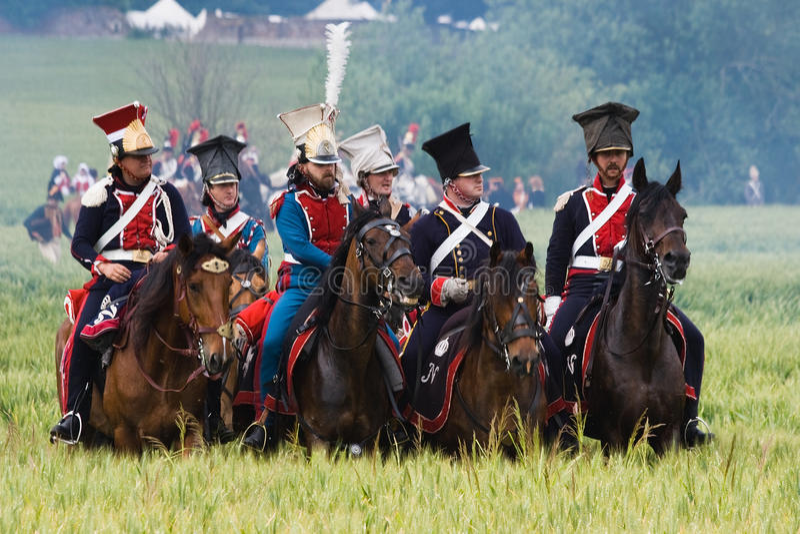 Batalha do Re-enactment de Waterloo, Bélgica 2009 foto de stock royalty free