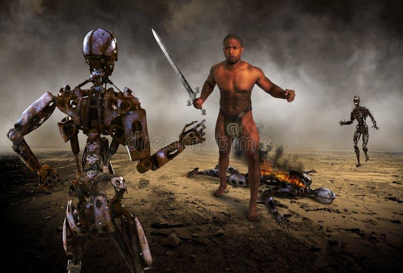 Batalha do robô, guerra, combate, apocalipse imagem de stock