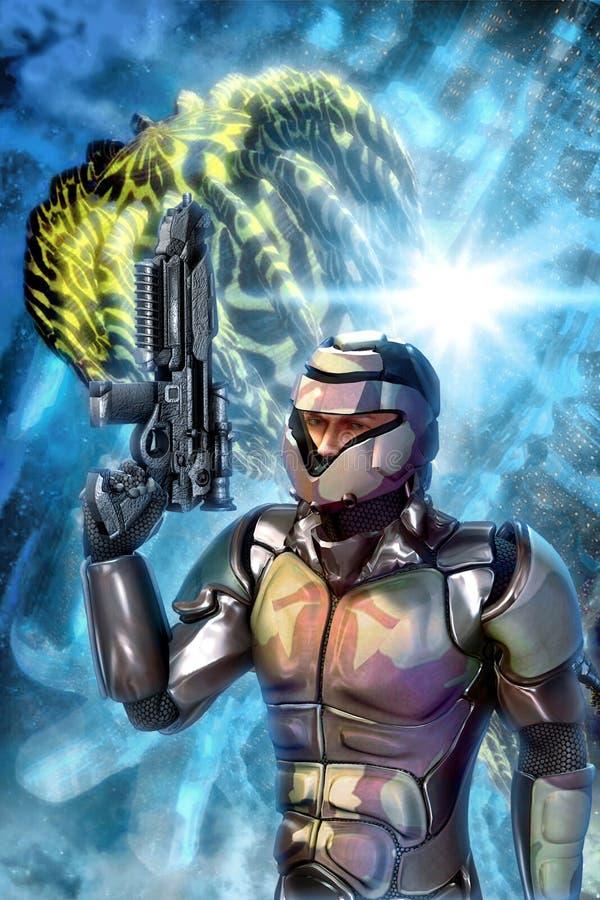 Batalha do soldado e da nave espacial de choque ilustração royalty free
