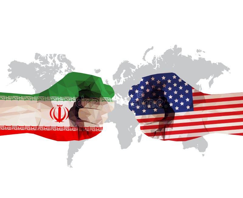 Batalha dos EUA contra o Irã: Flagres em mãos cerradas se confrontam no mapa do mundo ilustração stock