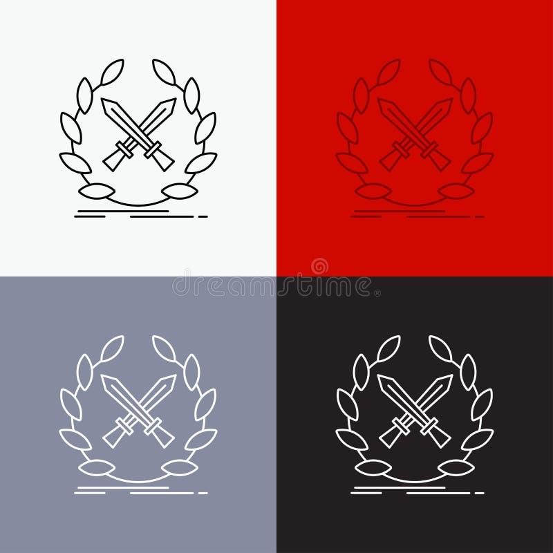 batalha, emblema, jogo, etiqueta, ícone das espadas sobre o vário fundo Linha projeto do estilo, projetado para a Web e o app Vet ilustração royalty free