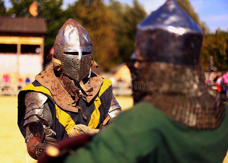 Batalha histórica do cavaleiro dos cavaleiros imagens de stock royalty free