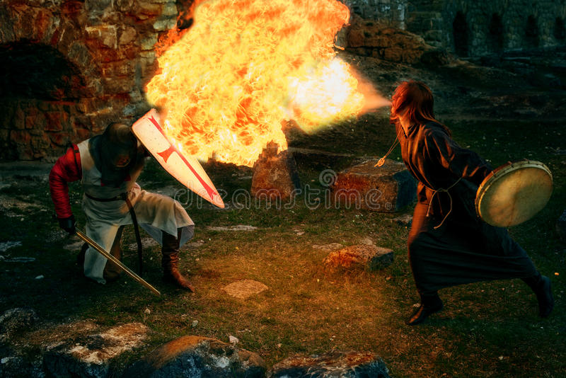 Batalha místico antiga dos cavaleiros foto de stock royalty free