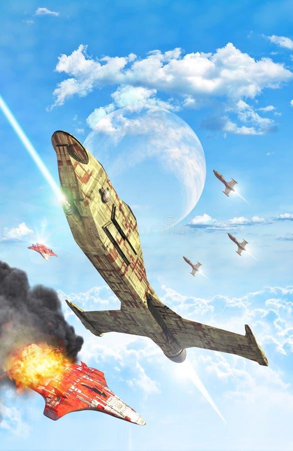 Batalha planetária do espaço ilustração royalty free