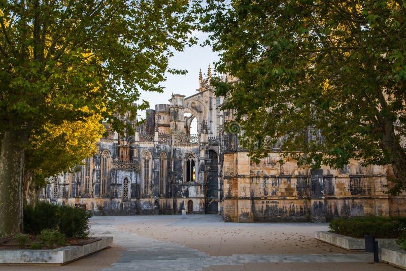 Batalha, Portogallo Monastero del monastero di Batalha aka di Santa Maria da Vitoria Vista del Capelas Imperfeitas Gotico e fotografie stock