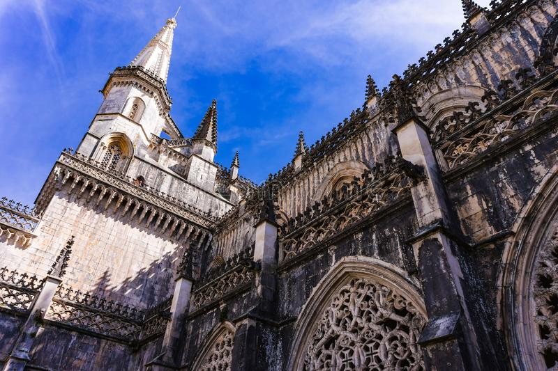 Batalha, Portugal. Detail of Royal Cloister of Batalha Abbey. Gothic, Manuelino. Batalha, Portugal. Detail of Royal Cloister, Claustro Real of Batalha Abbey royalty free stock photo