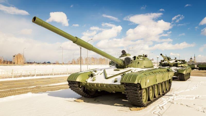 Batalistycznego zbiornika retro eksponat militarnej historii muzeum, Rosja, Yekaterinburg, 31 03 2018 fotografia stock