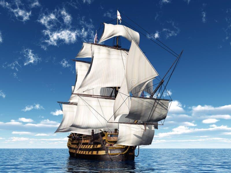 batalistyczni błękitny colours zgłębiają statek flagowy hms władyki nelsonu bogatego nieba trafalgar zwycięstwo ilustracja wektor