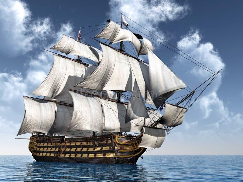 batalistyczni błękitny colours zgłębiają statek flagowy hms władyki nelsonu bogatego nieba trafalgar zwycięstwo ilustracji