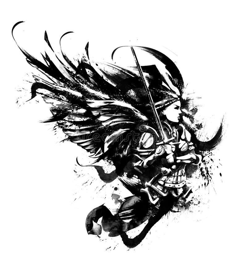 Batalistyczny anioł w opancerzeniu z kordzikiem ilustracja wektor