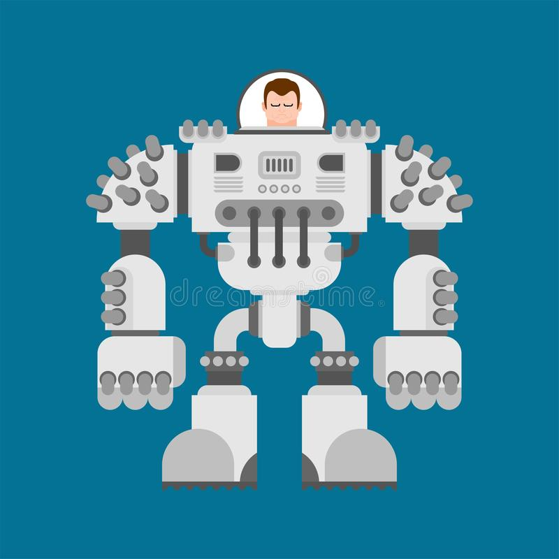 Batalistyczny robota Exoskeleton Cyborga wojownika przyszłość Wektorowy illustra royalty ilustracja