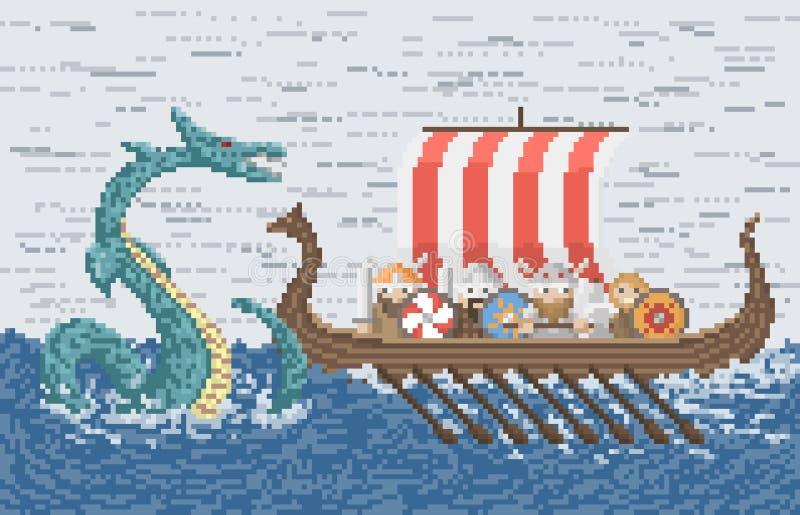 Batalla de Vikingos con el dragón del mar stock de ilustración