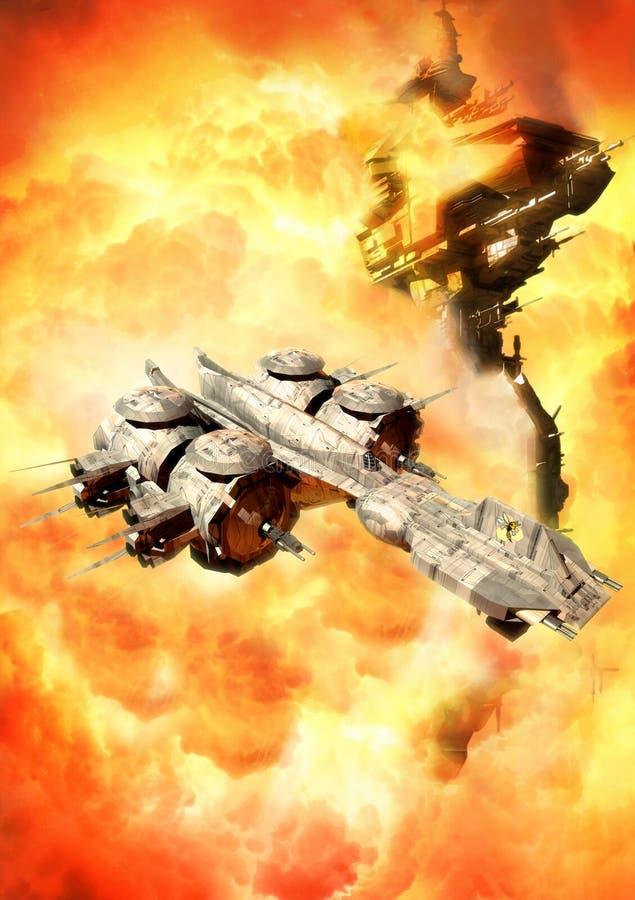 Batalla del espacio stock de ilustración