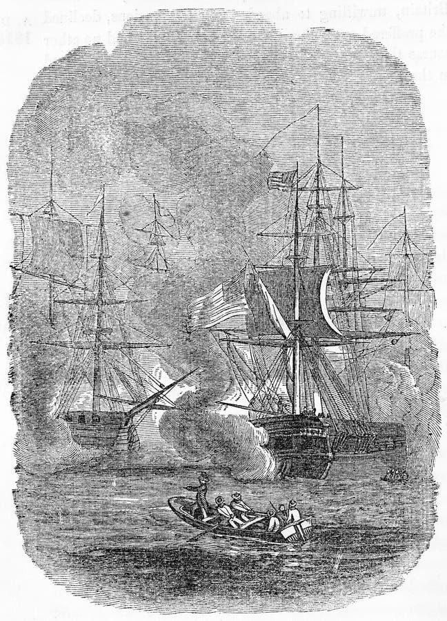 batalla del lago Erie entre los americanos y el francés stock de ilustración