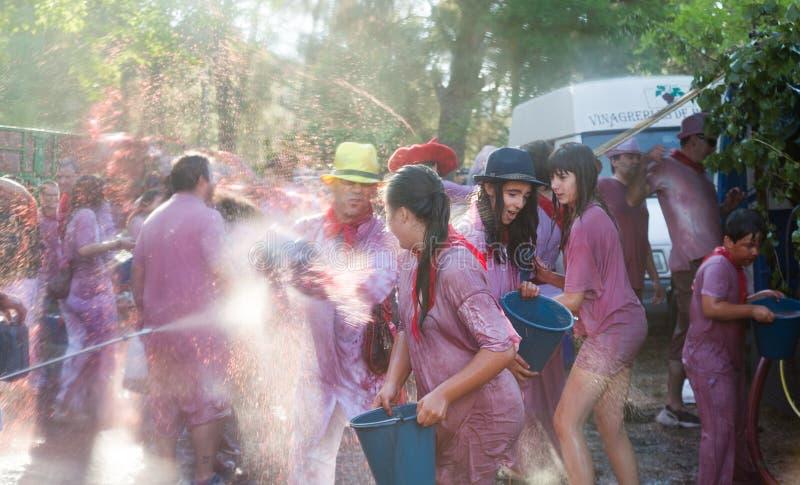 Batalla del vino - wijnwaanzin in Haro royalty-vrije stock fotografie