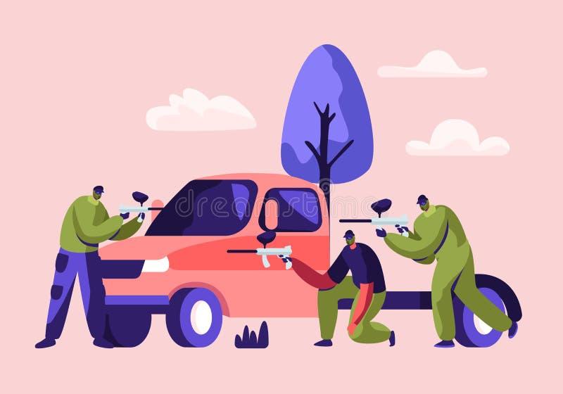 Batalla dinámica de Paintball Jugadores Sit Behind del coche en máscara con el tiroteo del arma del marcador al equipo de oposici ilustración del vector
