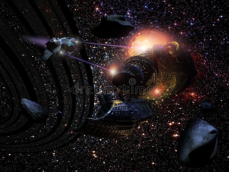 Batalla en espacio stock de ilustración