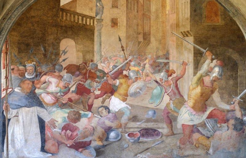 Batalla entre los católicos y los herejes a la hora de San Pedro el mártir, fresco en la iglesia de Santa Maria Novella en Floren foto de archivo libre de regalías