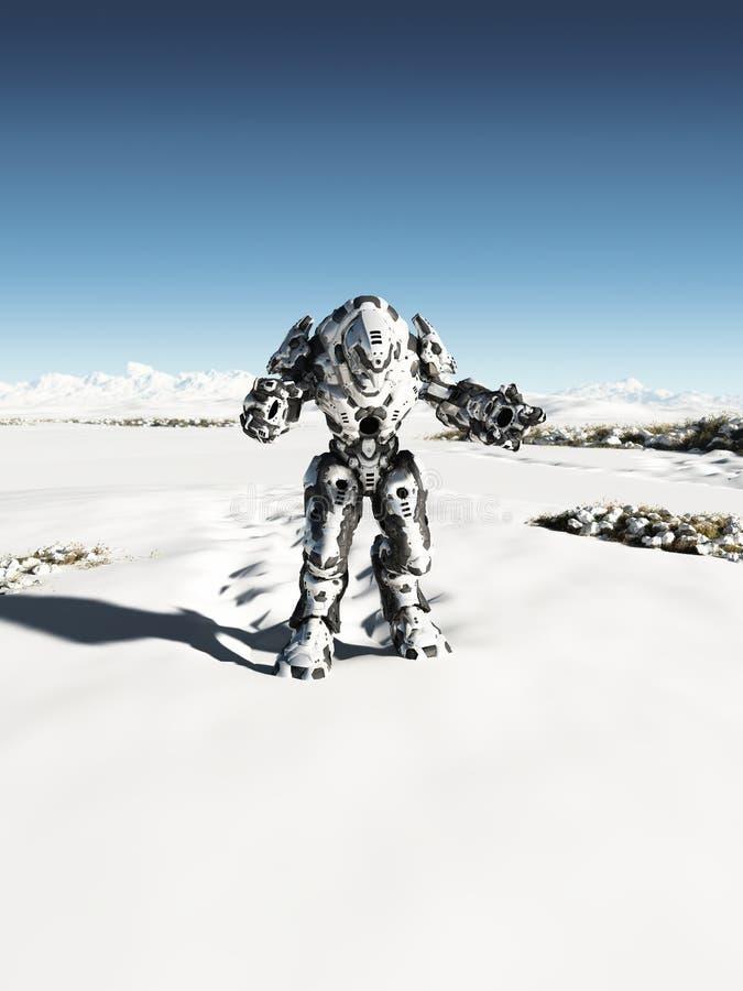Batalla extranjera Droid - patrulla de la nieve stock de ilustración