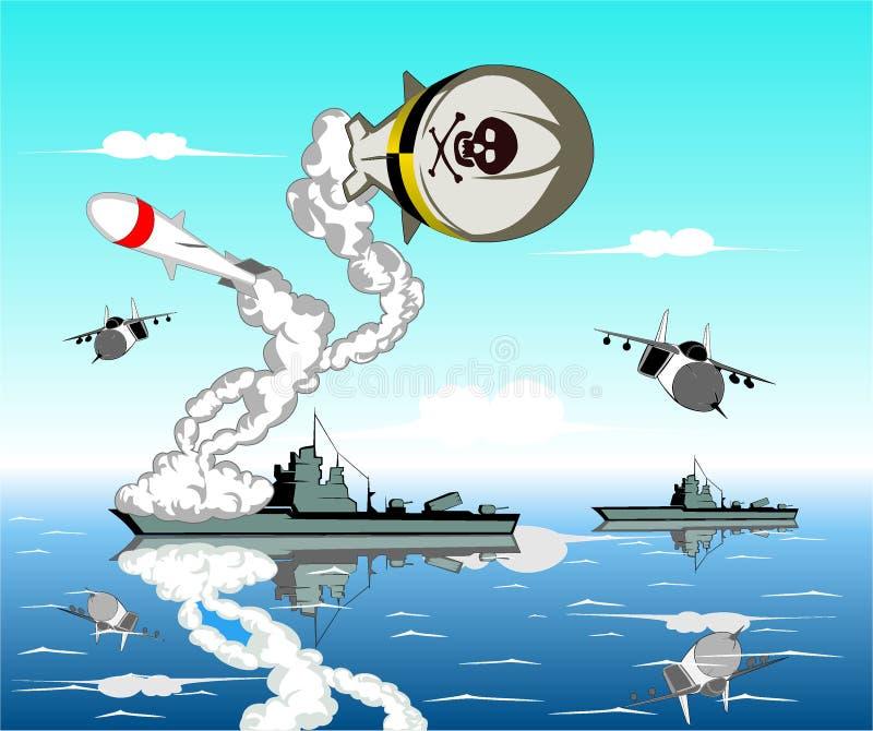 Batalla naval ilustración del vector