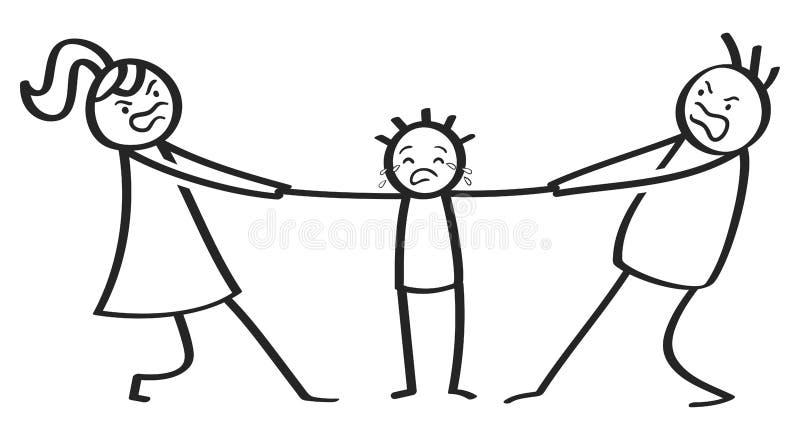Batalla por la custodia, divorcio, padres enojados, madre y padre luchando encima y rasgando en el niño gritador stock de ilustración