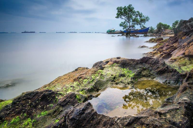Batam-Strandtrieb in der langen Belichtung lizenzfreie stockbilder