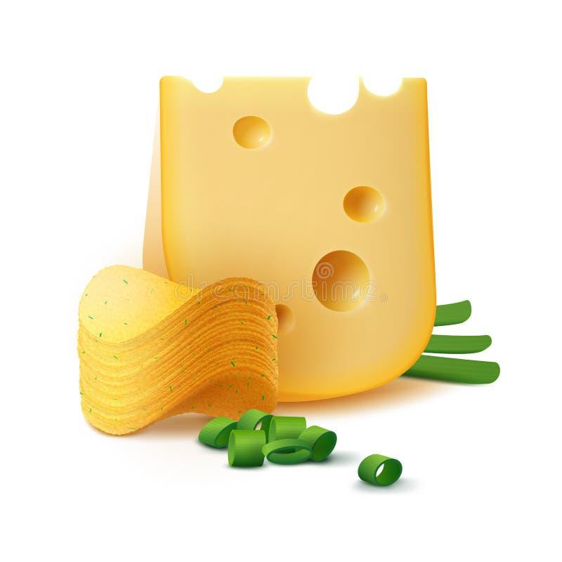 Batata Chips Stack com queijo e cebola no fundo ilustração royalty free