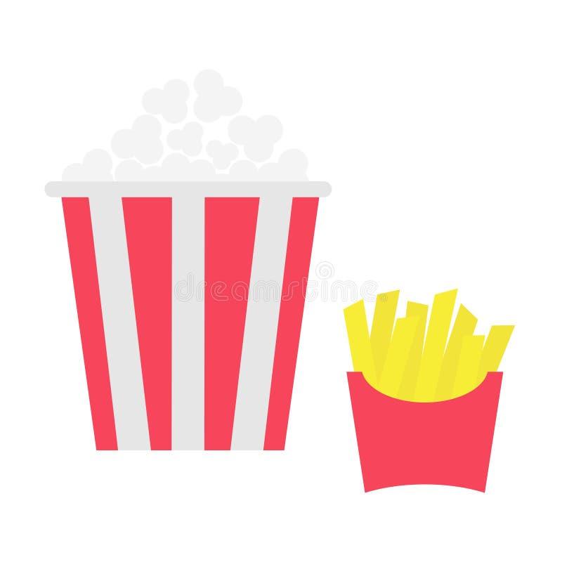 Batata de batatas fritas em uma caixa do envoltório de papel pipoca Batatas fritadas Grupo do ícone do cinema do filme Menu do fa ilustração royalty free