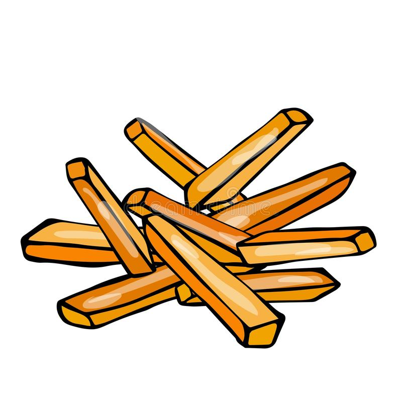 Batata de batatas fritas Fast food Ilustração tirada do vetor do esboço do estilo dos desenhos animados da garatuja mão realístic ilustração stock