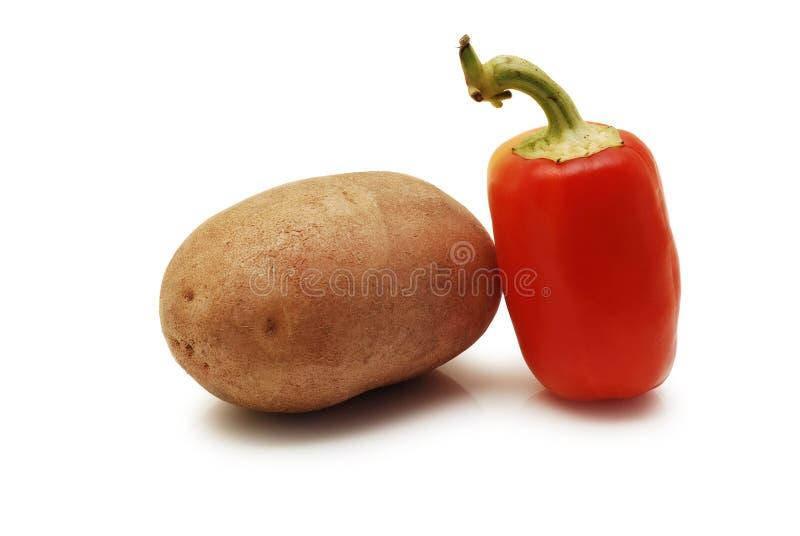 Batata e pimenta vermelha fotografia de stock