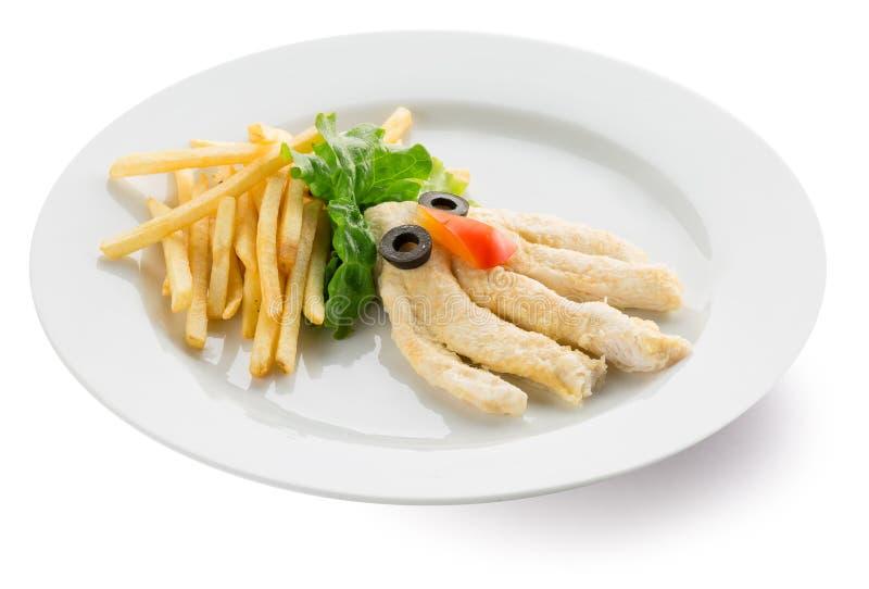 A batata frita com a galinha na forma do polvo imagens de stock