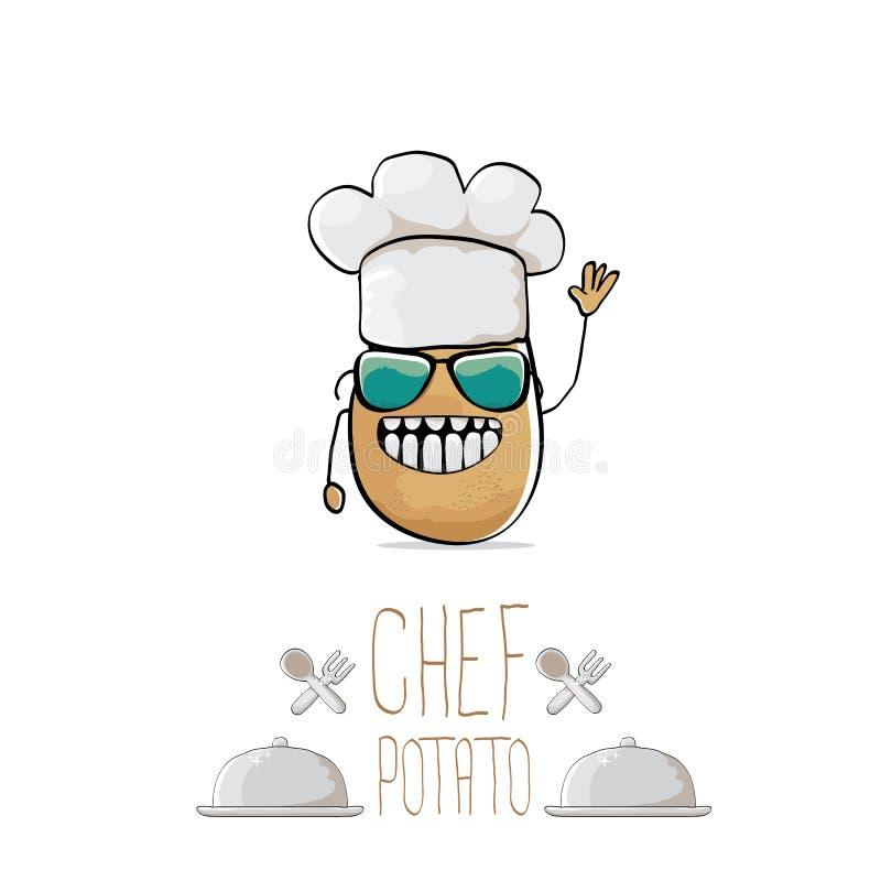 Batata marrom bonito do cozinheiro chefe dos desenhos animados engraçados do vetor ilustração royalty free