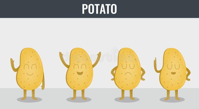 Batata Vegetais engraçados dos desenhos animados Alimento biológico Vetor ilustração royalty free