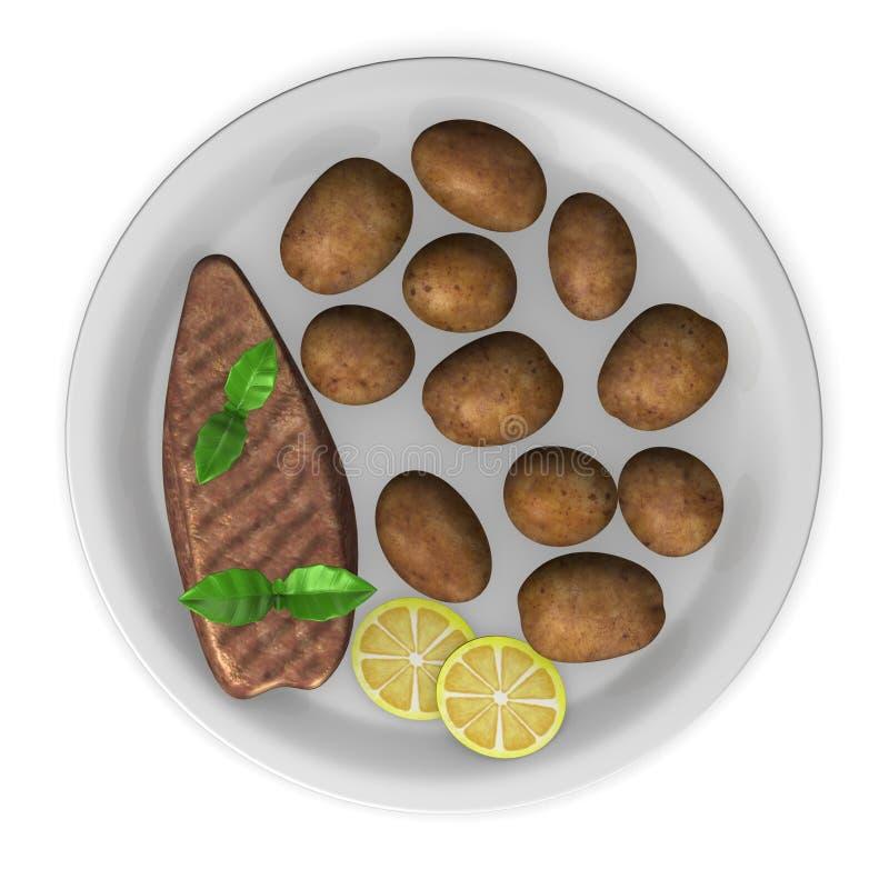 Batatas com carne ilustração do vetor