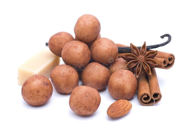 Batatas da pasta da amêndoa fotografia de stock