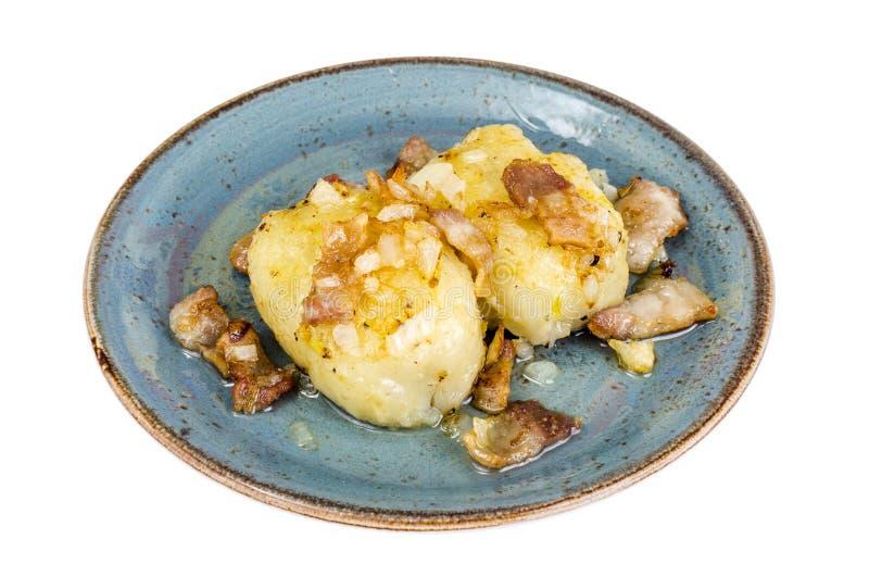 Batatas de Cepelinai com molho da carne fotos de stock