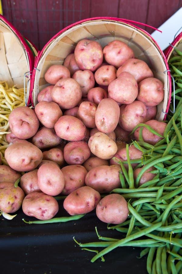 Batatas e feijões em um vertical do mercado imagem de stock