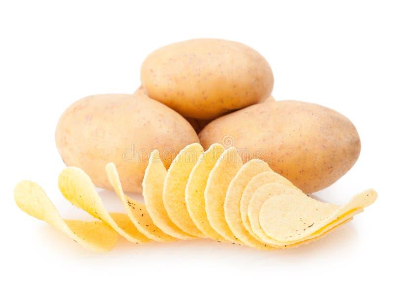 Batatas e microplaquetas foto de stock