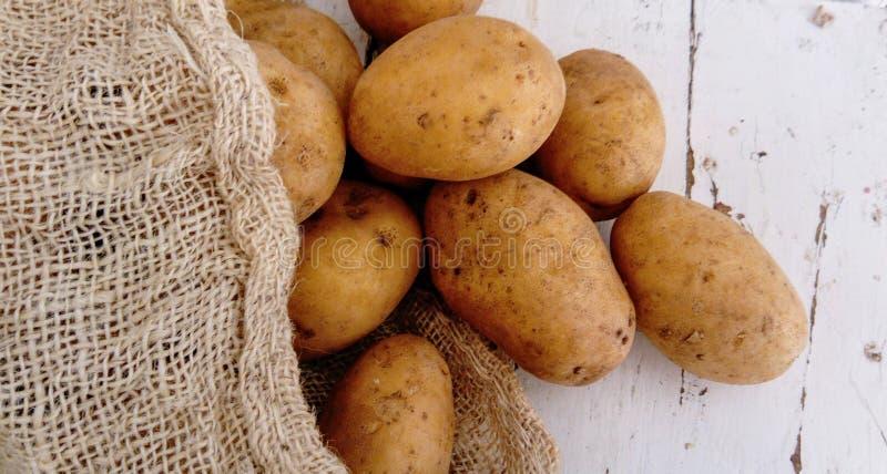 Batatas em um fundo de madeira branco imagem de stock