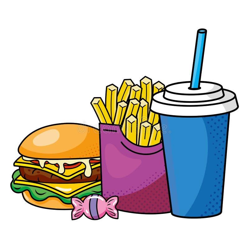 Batatas fritas e soda do Hamburger ilustração stock