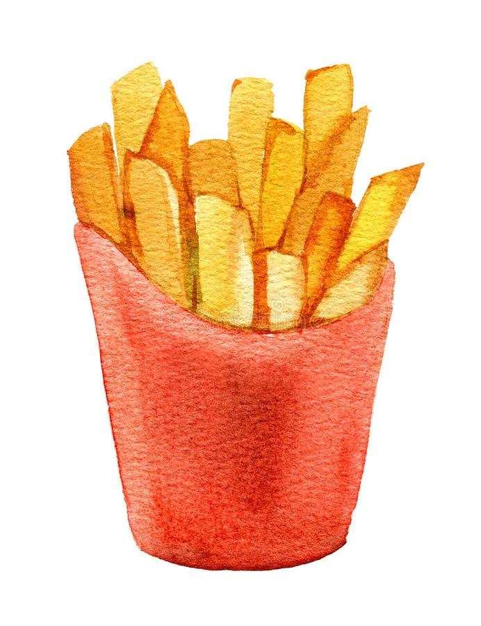 Batatas fritas em caixa de cartão vermelha, isoladas em fundo branco, aquarela foto de stock