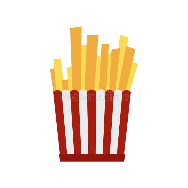 Batatas fritas na caixa de papel listrada vermelha e branca ilustração stock