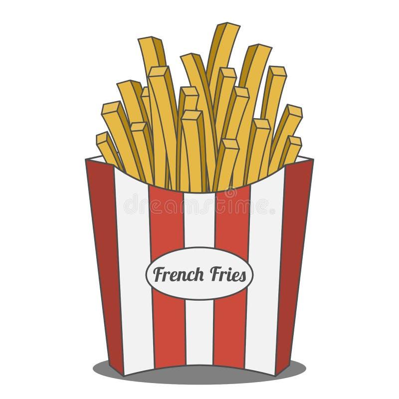 Batatas fritas na caixa de papel listrada vermelha e branca ilustração do vetor