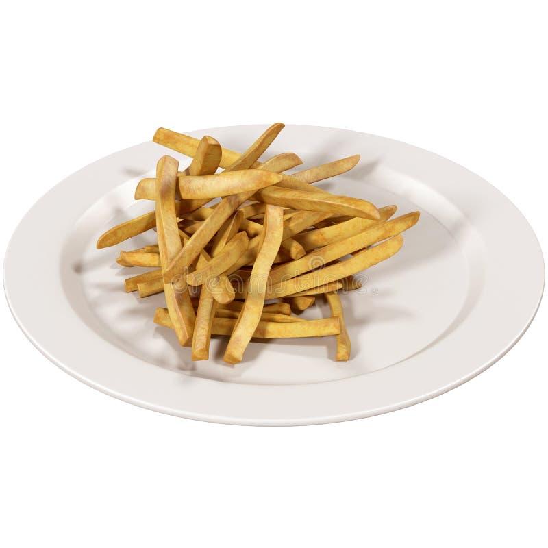 Batatas fritas no prato ilustração stock