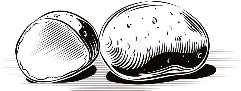 Batatas que descansam em um plano ilustração do vetor