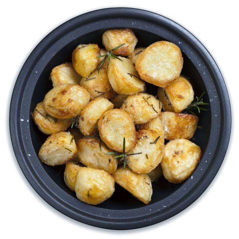 Batatas Roasted isoladas fotografia de stock