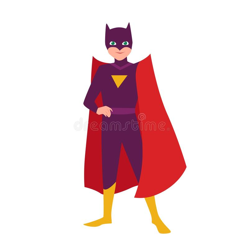 Batboy. Teenage kid in bat costume standing in heroic pose. Fantastic child hero with super power. Teen superhero. Wearing mask and cape. Superkid, superchild royalty free illustration
