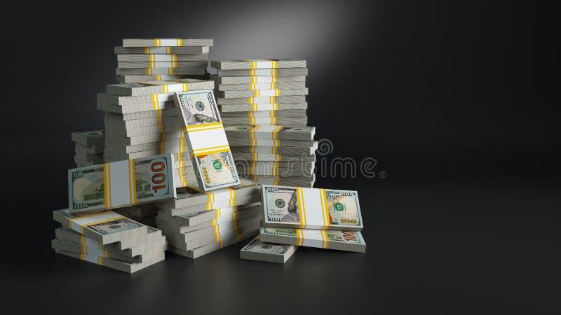 Batch με τα δολάρια Σωροί των χρημάτων εγγράφου διανυσματική απεικόνιση