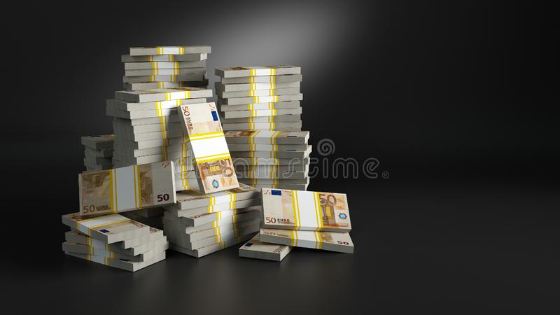 Batch με τα δολάρια Σωροί των χρημάτων εγγράφου απεικόνιση αποθεμάτων